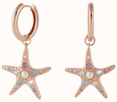 Olivia Burton Starfish Sparkle Rose Gold Huggie Earrings OBJSCE35