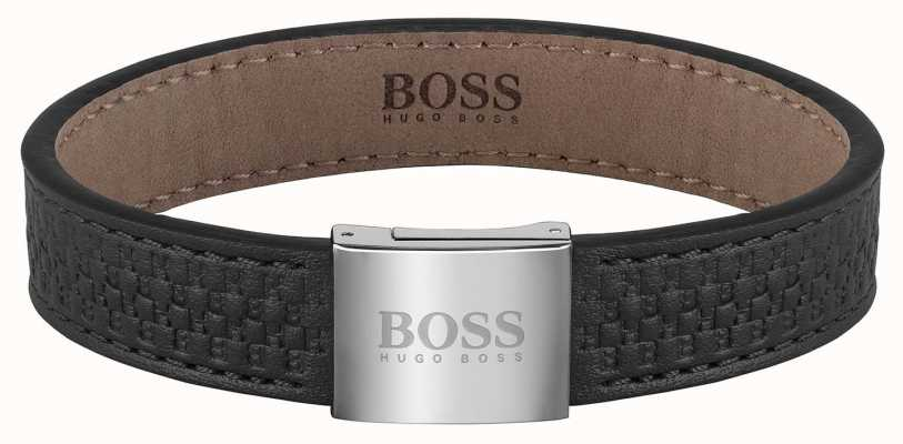 BOSS Jewellery Monogram Black Leather Bracelet 180mm 1580057M