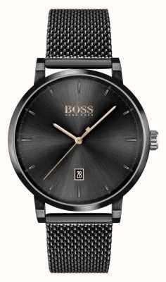 BOSS | Men's Confidence | Black Mesh Bracelet | Black Dial 1513810