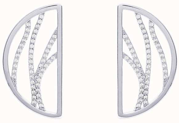 Les Georgettes 30mm Perroquet Silver Finish CZ Pattern Half Moon Earrings 70326341608000
