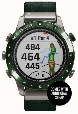 Garmin MARQ Golfer | Green Nylon Strap and Pine Green Rubber Strap 010-02395-00