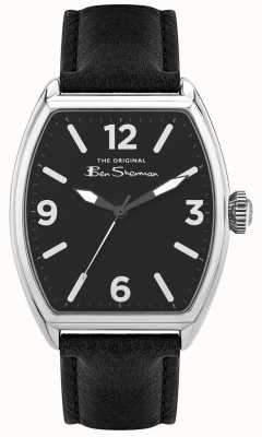Ben Sherman | Men's Black Leather Strap | Black Rectangle Dial BS040B
