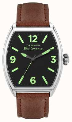 Ben Sherman | Men's Brown Leather Strap | Black Rectangle Dial BS040T