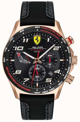 Scuderia Ferrari | Men's Pilota | Black Leather/Silicone Strap | Black Dial 0830718