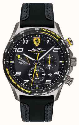 Scuderia Ferrari | Men's Pilota | Black Silicone/Leather Strap | Black Dial 0830719
