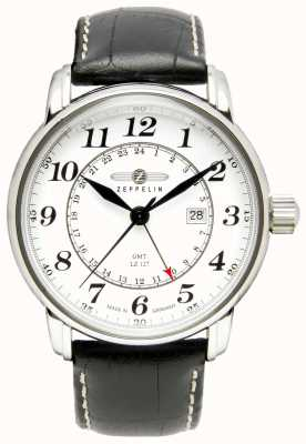 Zeppelin LZ 127 Transatlantic GMT | Black Leather Strap | White Dial 7642-1
