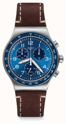 Swatch Irony Chrono | Casual Blue | Brown Leather Strap | Blue Dial YVS466