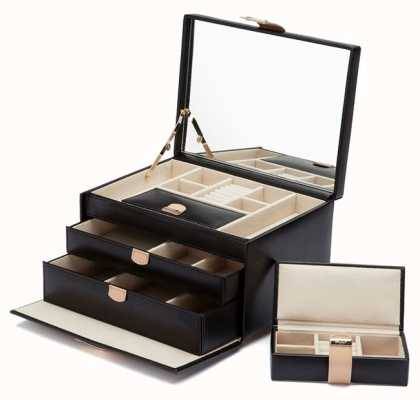 WOLF Chloe Black Medium Jewellery Box 301002