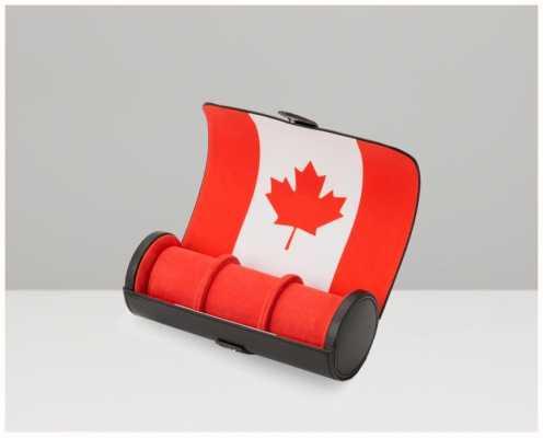 WOLF Navigator Canadian Flag Triple Watch Roll 470104