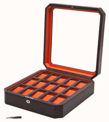 WOLF Windsor Brown/Orange 15Pc Watch Box 458506