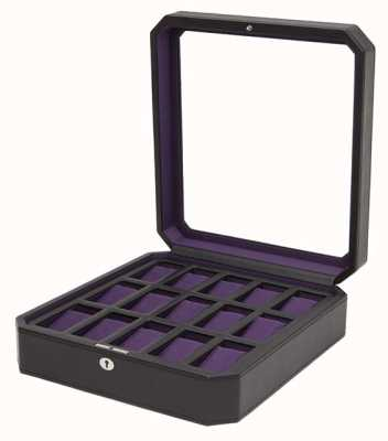 WOLF Windsor Black/Purple 15Pc Watch Box 458503