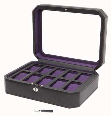 WOLF Windsor Black/Purple 10Pc Watch Box 458403