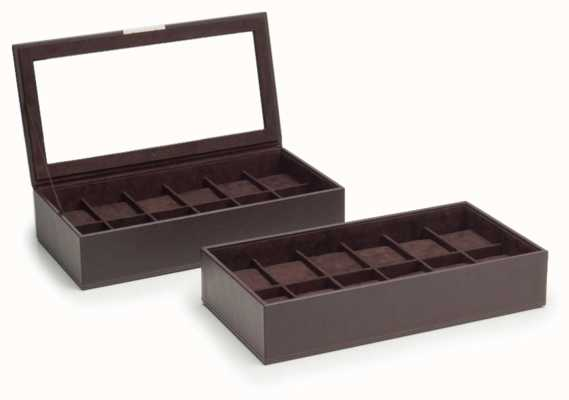WOLF Stackable Watch Tray Brown 12Pc Set Of 2 319706