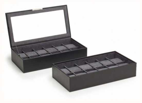 WOLF Stackable Watch Tray Black 12Pc Set Of 2 319703