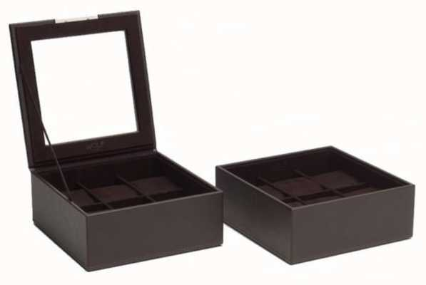 WOLF Stackable Watch Tray Brown 6Pc Set Of 2 319606