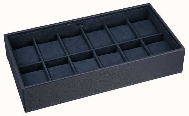 WOLF Stackable Watch Tray Navy 12Pc Standard 309917