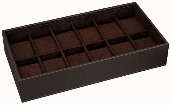 WOLF Stackable Watch Tray Brown 12Pc Standard 309906