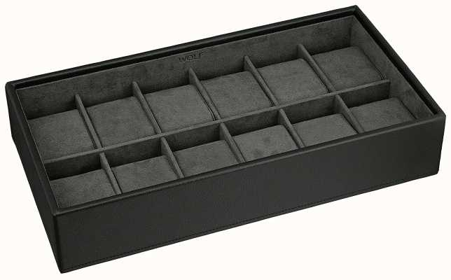 WOLF Stackable Watch Tray Black 12Pc Standard 309903