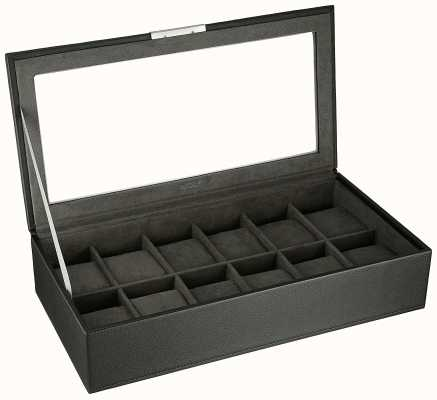 WOLF Stackable Watch Tray Black 12Pc With Lid 309803