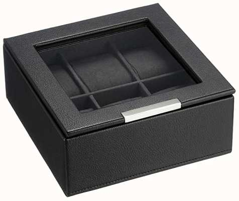 WOLF Stackable Watch Tray Black 6Pc With Lid 309603