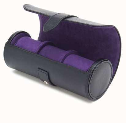 WOLF Blake Black Pebble/Purple Triple Watch Roll 305028