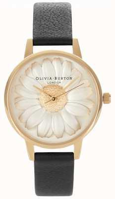 Olivia Burton 3D Daisy | Women's Black Leather Strap | Daisy Dial OB15EG38