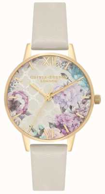 Olivia Burton | Glasshouse | Women's Nude Leather Strap | Floral Dial OB16EG99