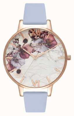 Olivia Burton Marble Florals | Chalk Blue Leather Strap | Floral Dial OB16MF10