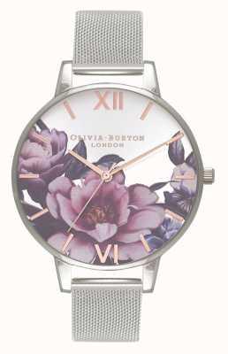Olivia Burton Women's Parlour | Peony Big Dial | Silver Mesh Bracelet OB16PL60