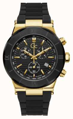 Gc Men's Force | Black Rubber Strap | Black Dial | Gold Case Y69005G2MF