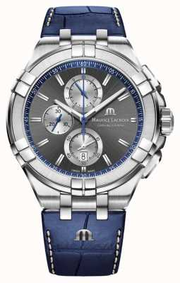 Maurice Lacroix Men's Aikon | Blue Leather Strap | Grey Dial AI1018-SS001-333-1
