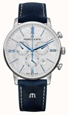Maurice Lacroix Eliros Chronograph | Blue Leather Strap | Silver Dial EL1098-SS001-114-1