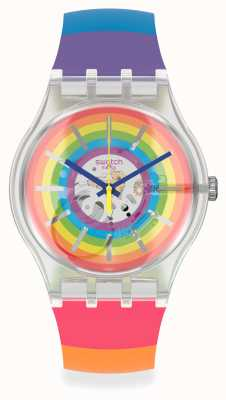 Swatch #OPENSUMMER | Multi-Coloured Silicone Strap | Rainbow Dial SUOK148