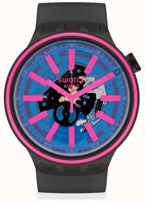 Swatch BLUE TASTE | Black Rubber Strap | Blue/Pink Dial SO27B111