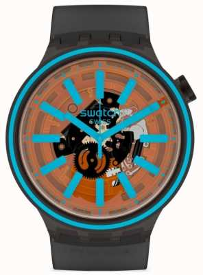 Swatch FIRE TASTE | Black Rubber Strap | Orange/Blue Dial SO27B112