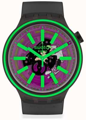 Swatch PINK TASTE | Black Rubber Strap | Purple/Green Dial SO27B113