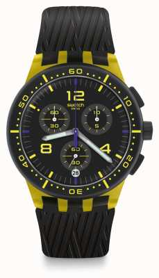 Swatch YELLOW TIRE | Black Silicone Strap | Black/Yellow Dial SUSJ403