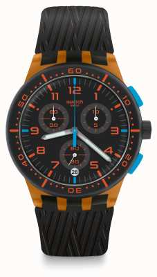 Swatch ORANGE TIRE | Black Silicone Strap | Black Dial SUSO401