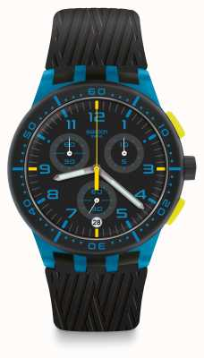 Swatch BLUE TIRE | Black Silicone Strap | Black/Blue Dial SUSS402