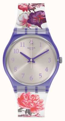 Swatch SWEET GARDEN | Floral Rubber Strap | Silver Dial GV135