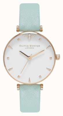Olivia Burton Queen Bee | Mint Leather Strap | White Dial OB16AM143