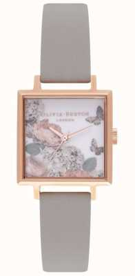 Olivia Burton Signature Dials | Grey Leather Strap | Floral Dial OB16WG41