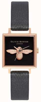 Olivia Burton 3D Bee | Black Leather Strap | Black Square Bee Dial OB16AM128