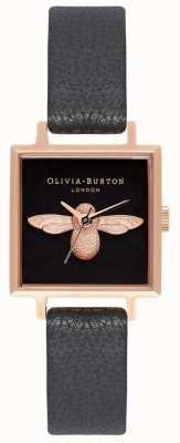 Olivia Burton 3D Bee | Black Leather Strap | Black Square Bee Dial OB16AM128