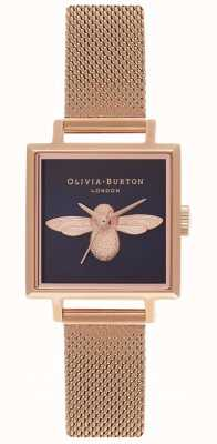 Olivia Burton 3D Bee | Rose Gold Mesh Bracelet | Square Bee Dial OB16AM96