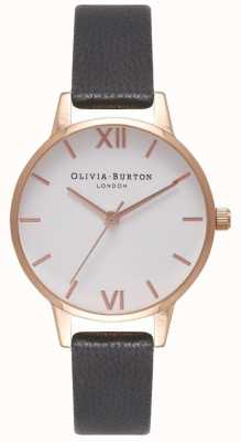 Olivia Burton Women's Black Leather Strap | White Midi Dial OB16MDW07