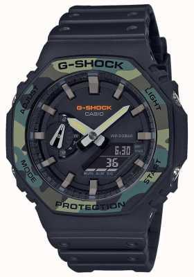 Casio G-Shock   Layered Bezel   Black Rubber Strap   Carbon Case GA-2100SU-1AER