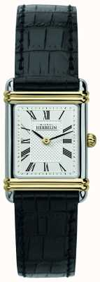 Michel Herbelin Women's Art Deco | Black Leather Strap | Silver Dial 17478/T08