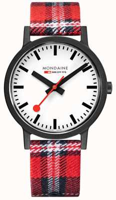 Mondaine Men's 41 mm Essence Tartan Strap Watch MS1.41111.LC