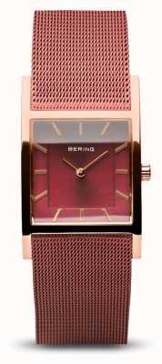 Bering Women's Classic | Polished Rose Gold | Red Mesh Bracelet 10426-363-S